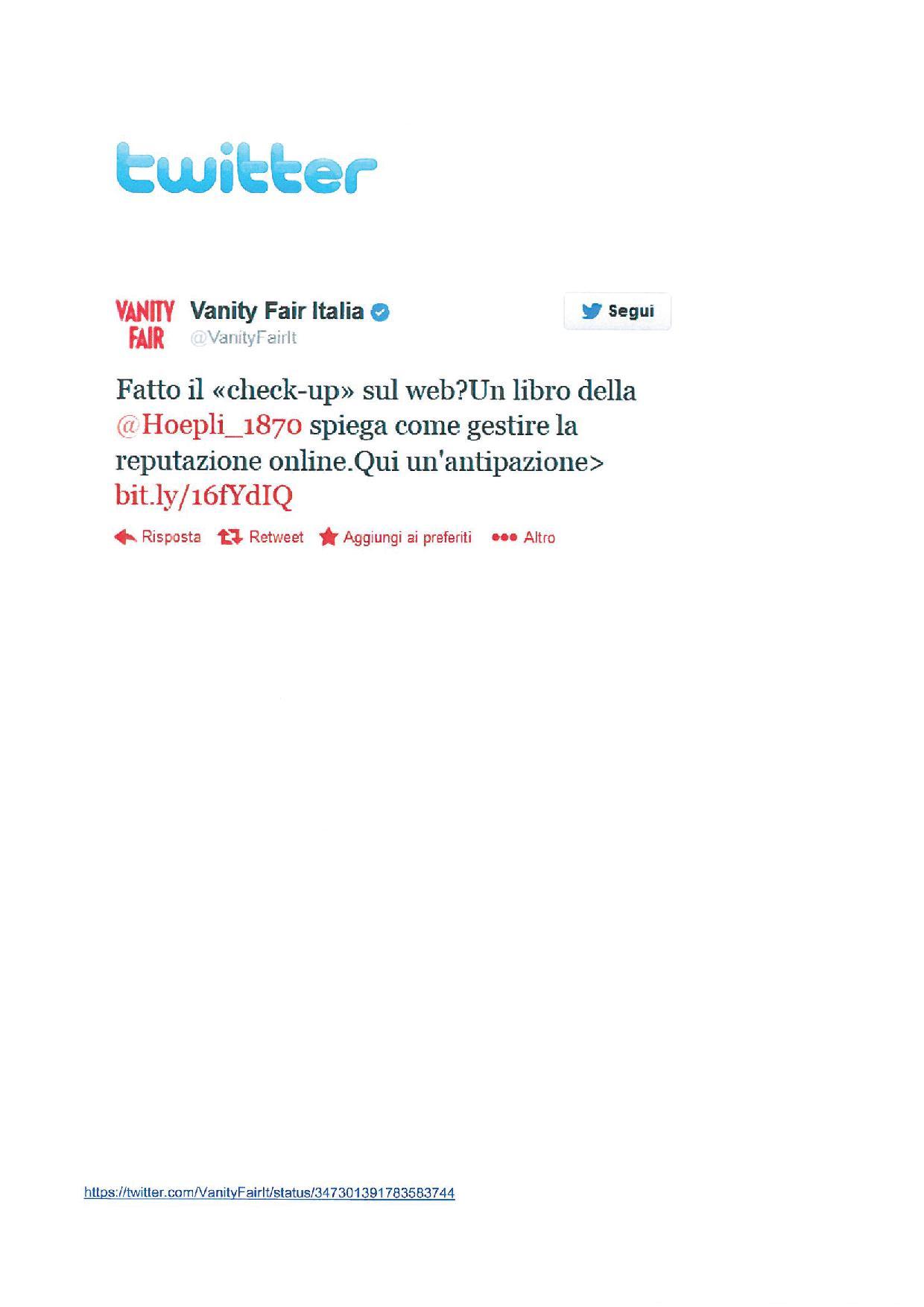 Twitter.com/Vanity Fair Italia, 19 giugno 2013