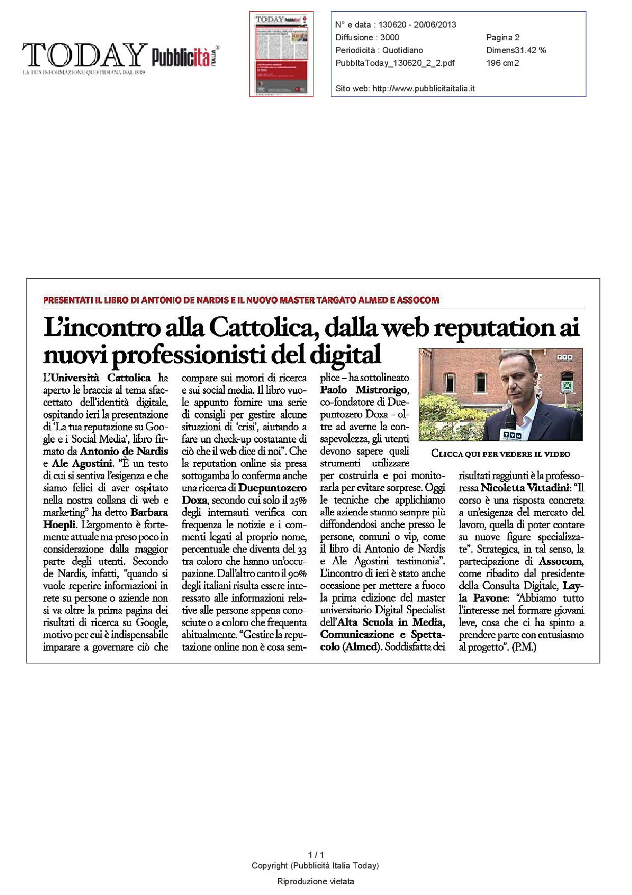 Today Pubblicità Italia, 20 giugno 2013
