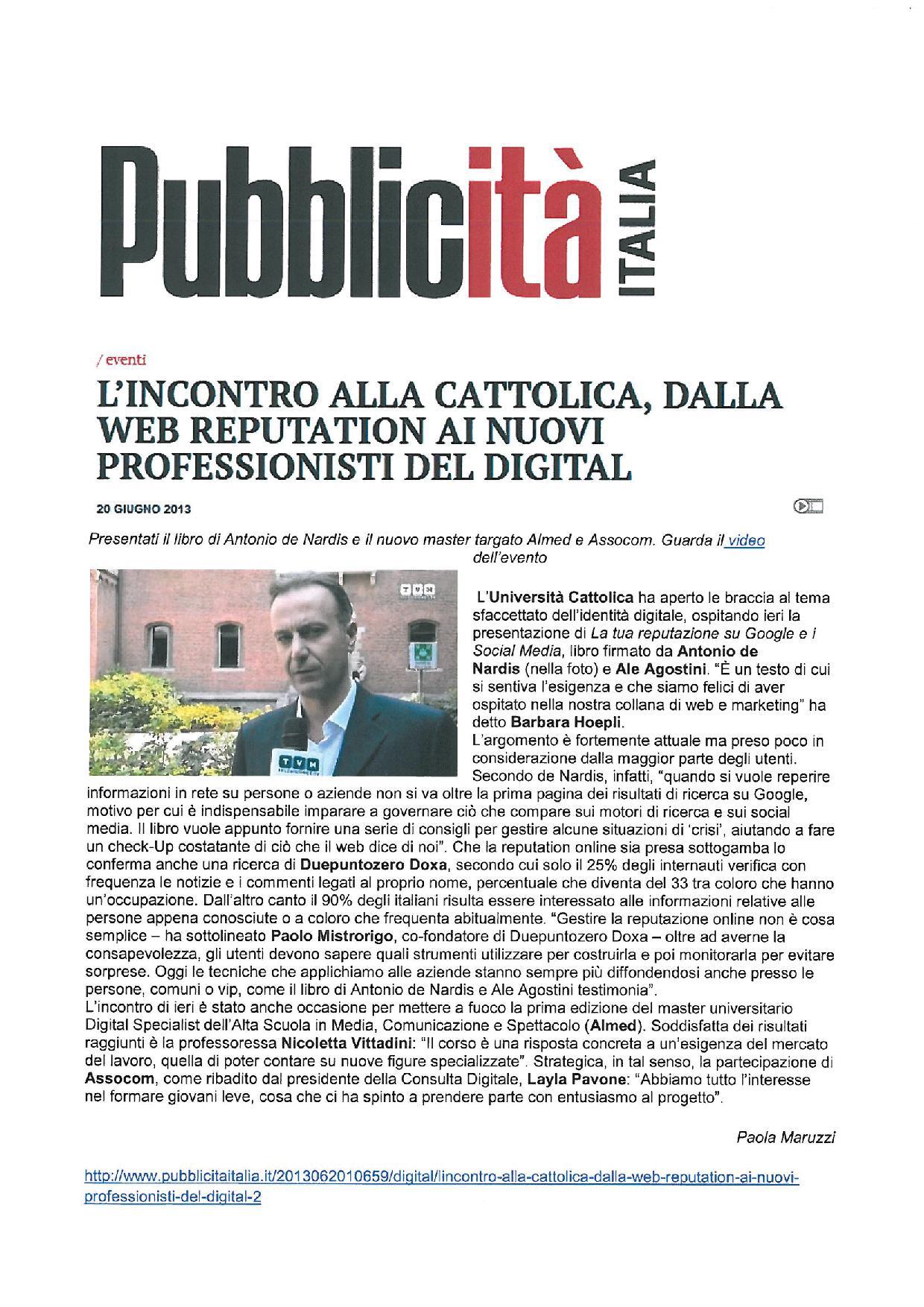 Pubblicitaitalia.it, 20 giugno 2013